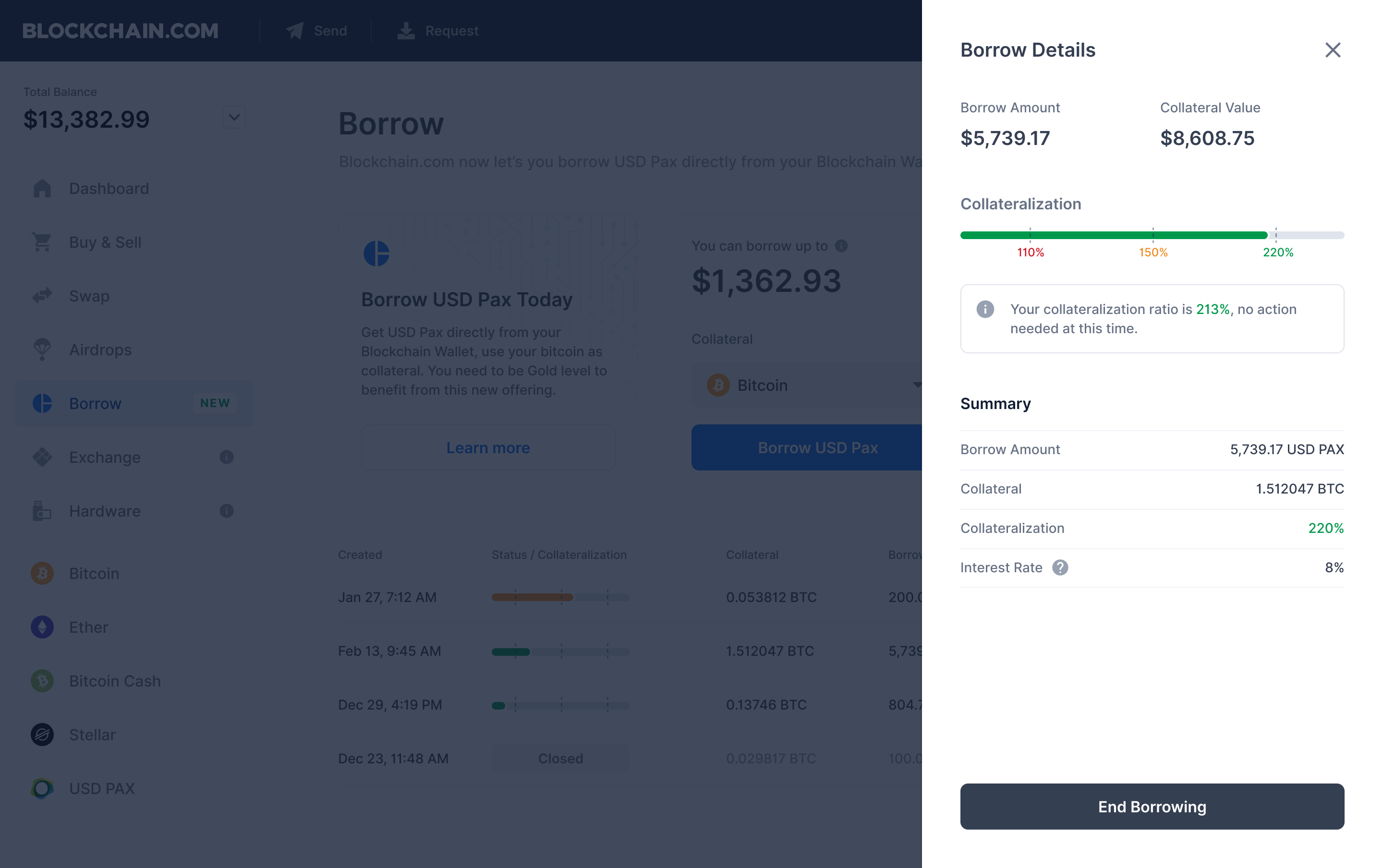 Blockchain (the company) lets you borrow USD PAX against collateral