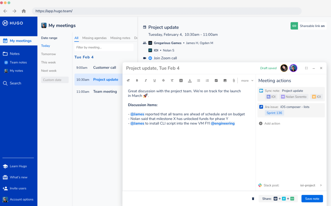 Collective conference notes platform Hugo catches seed funding from Google, Slack