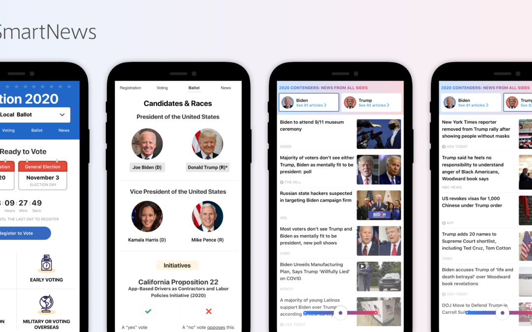 SmartNews' U.S. app reveals new features for the elections, COVID-19 and local weather condition
